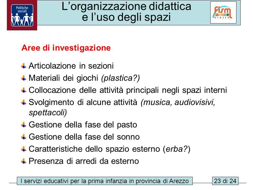 I servizi educativi per la prima infanzia in provincia di Arezzo23 di 24 Lorganizzazione didattica e luso degli spazi Articolazione in sezioni Materia