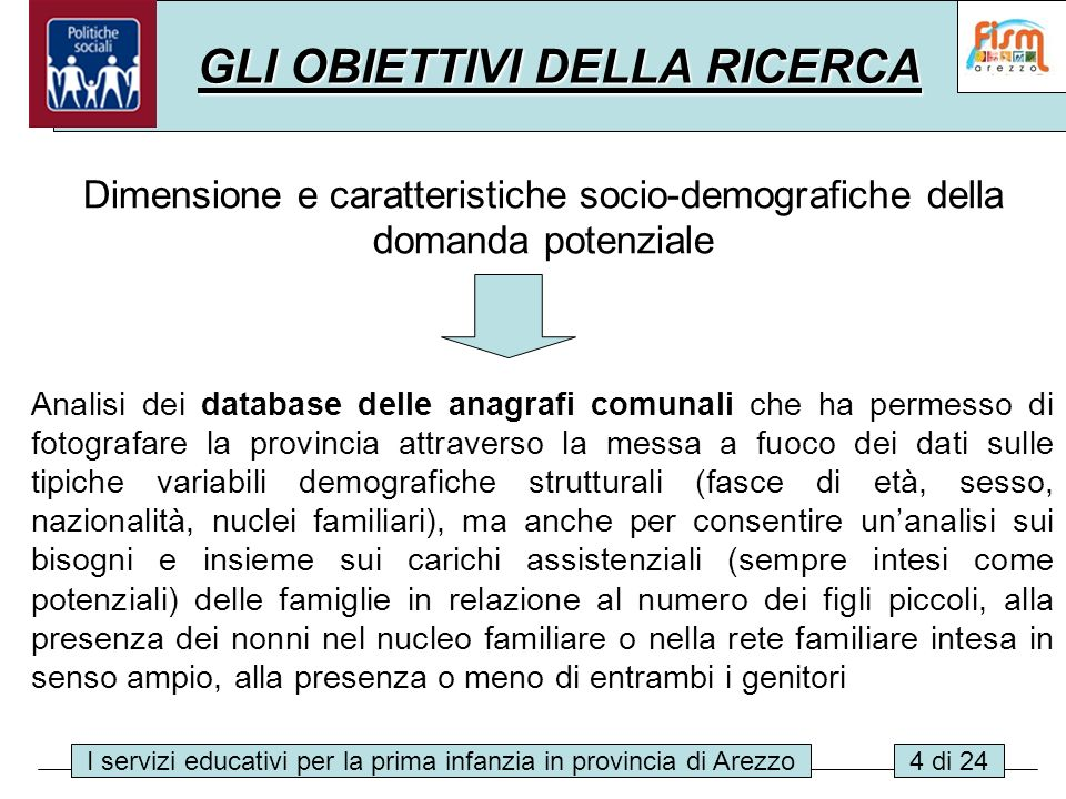 I servizi educativi per la prima infanzia in provincia di Arezzo4 di 24 GLI OBIETTIVI DELLA RICERCA Dimensione e caratteristiche socio-demografiche de