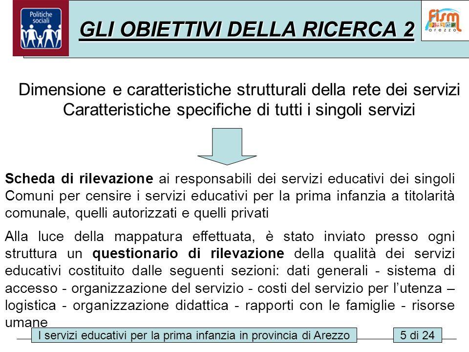 I servizi educativi per la prima infanzia in provincia di Arezzo5 di 24 GLI OBIETTIVI DELLA RICERCA 2 Dimensione e caratteristiche strutturali della r
