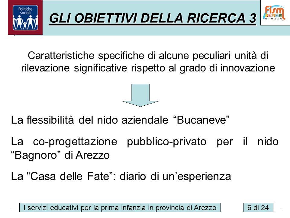 I servizi educativi per la prima infanzia in provincia di Arezzo6 di 24 GLI OBIETTIVI DELLA RICERCA 3 Caratteristiche specifiche di alcune peculiari u
