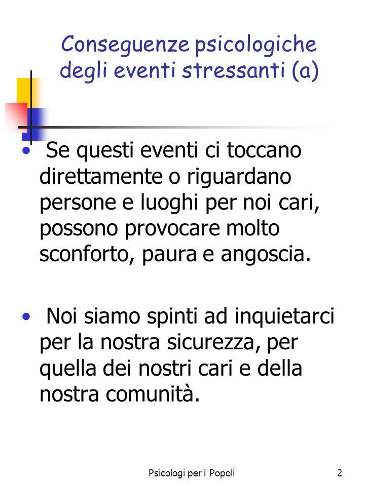 Psicologi per i Popoli2 Conseguenze psicologiche degli eventi stressanti (a) Se questi eventi ci toccano direttamente o riguardano persone e luoghi pe