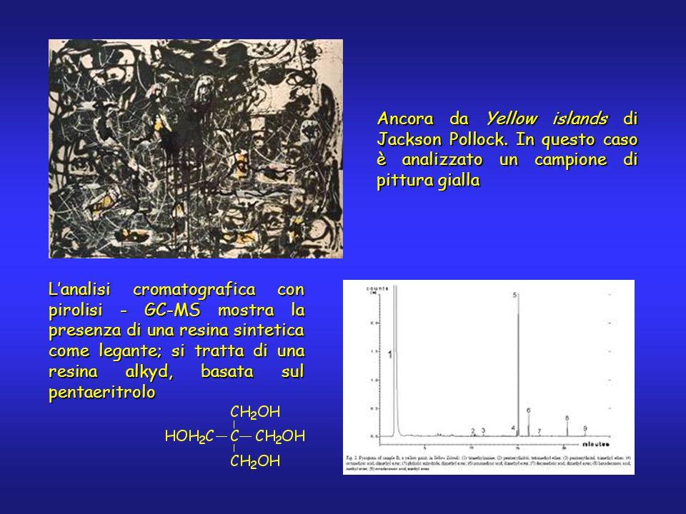 Lanalisi cromatografica con pirolisi - GC-MS mostra la presenza di una resina sintetica come legante; si tratta di una resina alkyd, basata sul pentae
