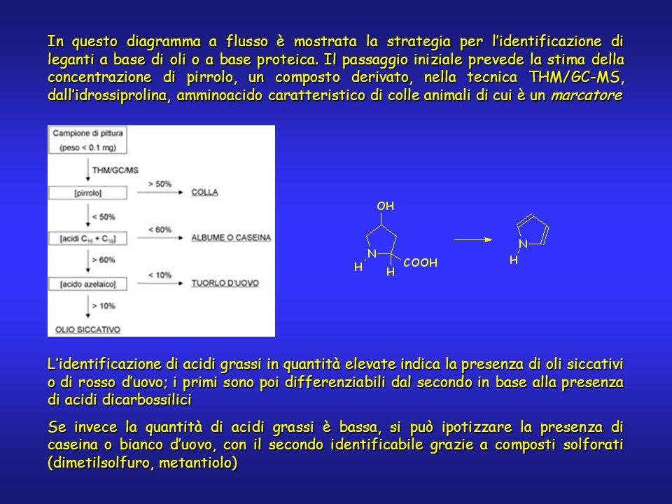 In questo diagramma a flusso è mostrata la strategia per lidentificazione di leganti a base di oli o a base proteica. Il passaggio iniziale prevede la