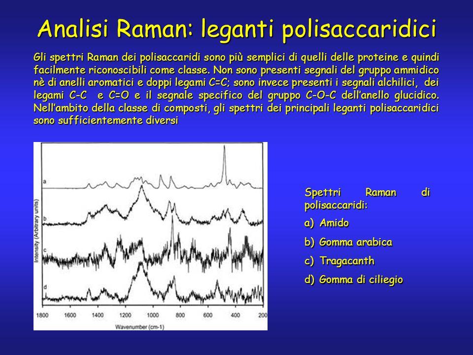 Analisi Raman: leganti polisaccaridici Gli spettri Raman dei polisaccaridi sono più semplici di quelli delle proteine e quindi facilmente riconoscibil