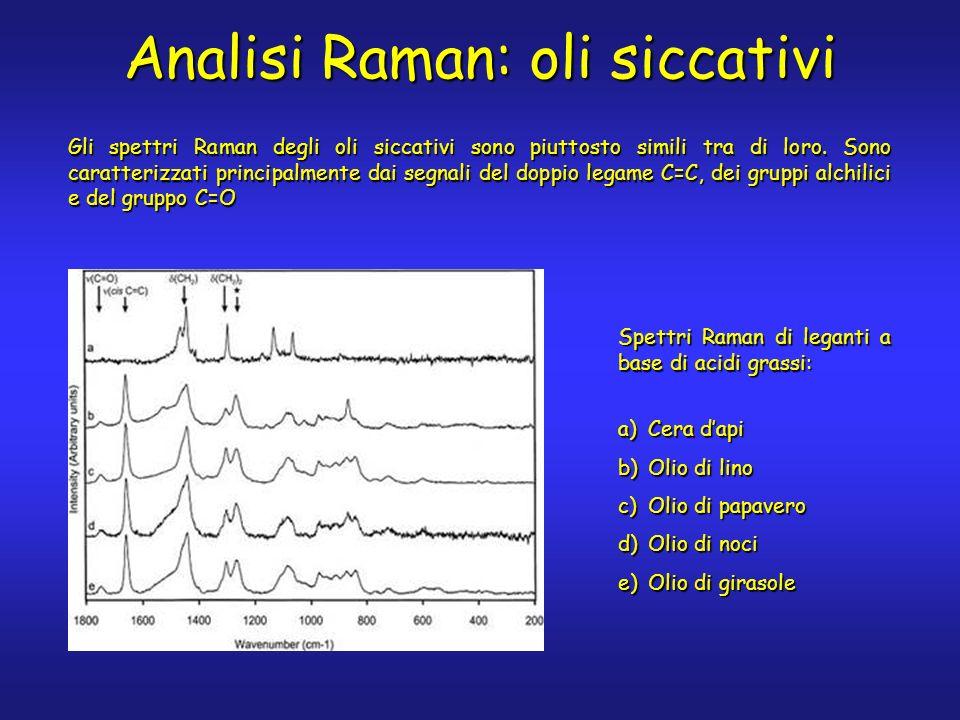 Analisi Raman: oli siccativi a)Cera dapi b)Olio di lino c)Olio di papavero d)Olio di noci e)Olio di girasole Spettri Raman di leganti a base di acidi