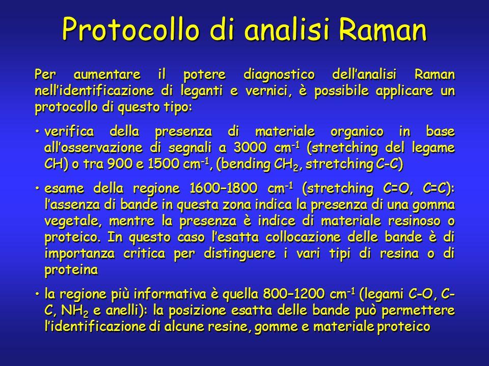 Protocollo di analisi Raman Per aumentare il potere diagnostico dellanalisi Raman nellidentificazione di leganti e vernici, è possibile applicare un p