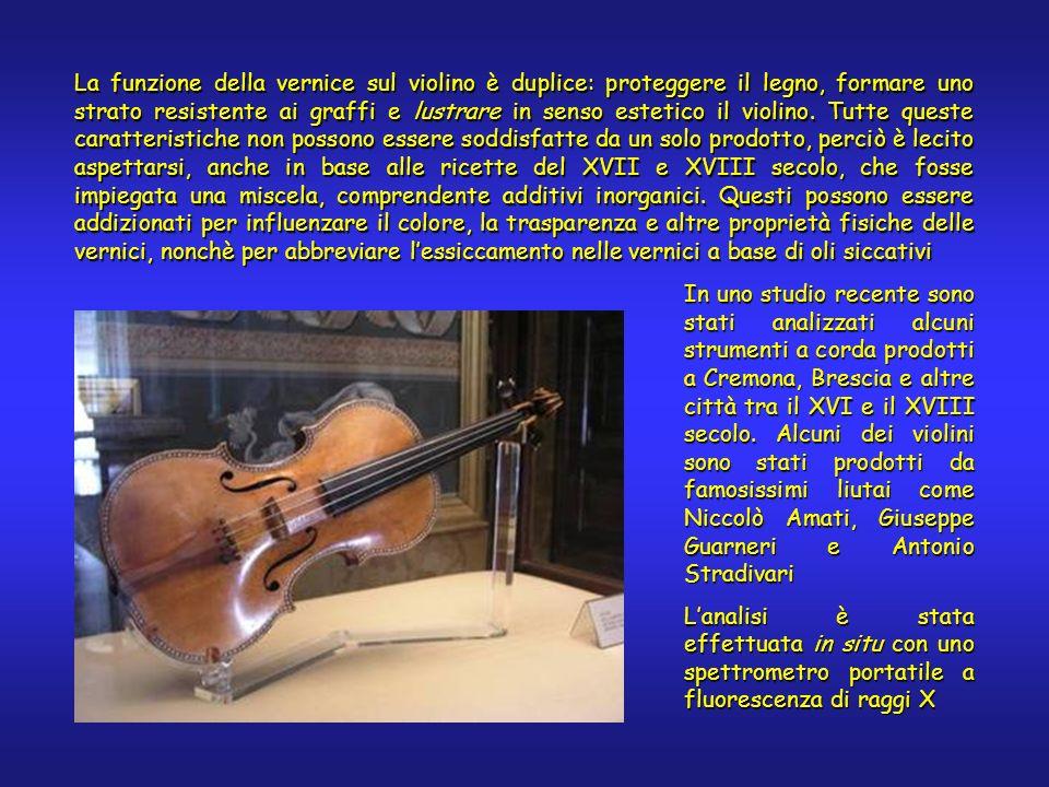 La funzione della vernice sul violino è duplice: proteggere il legno, formare uno strato resistente ai graffi e lustrare in senso estetico il violino.