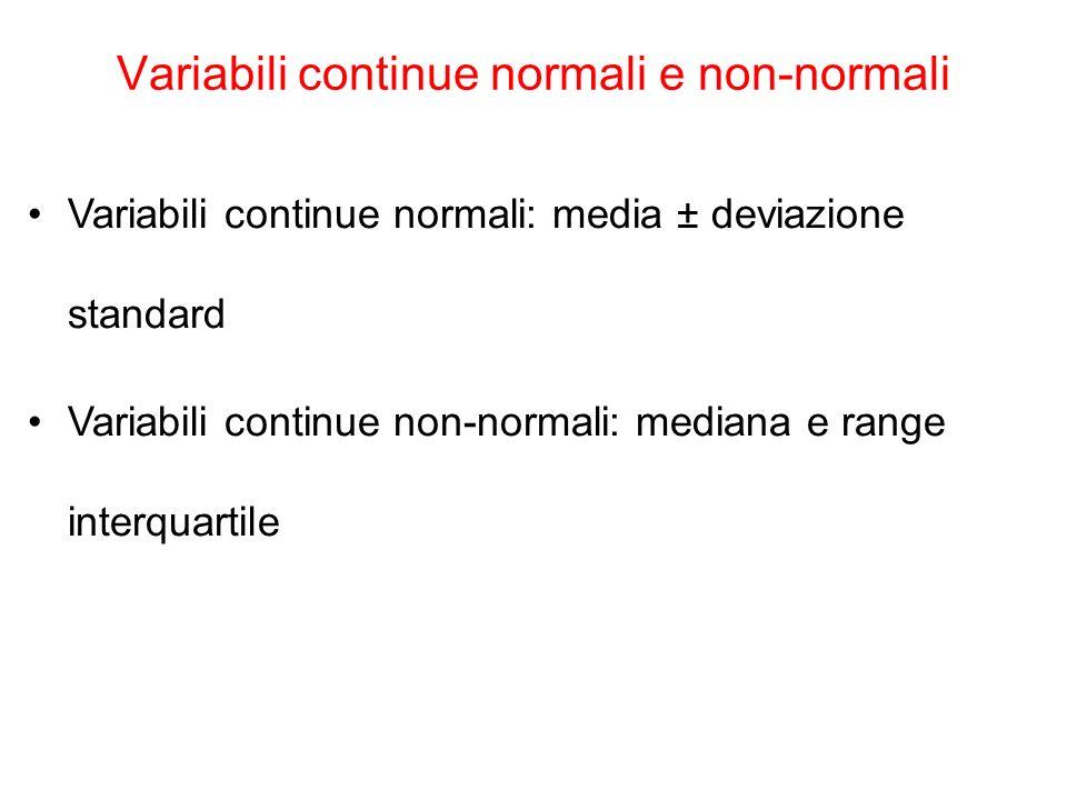 The Platinum Journal Variabili continue normali e non-normali Variabili continue normali: media ± deviazione standard Variabili continue non-normali: