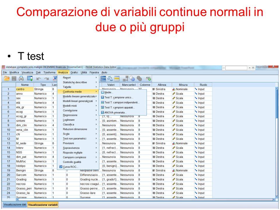 The Platinum Journal Comparazione di variabili continue normali in due o più gruppi T test