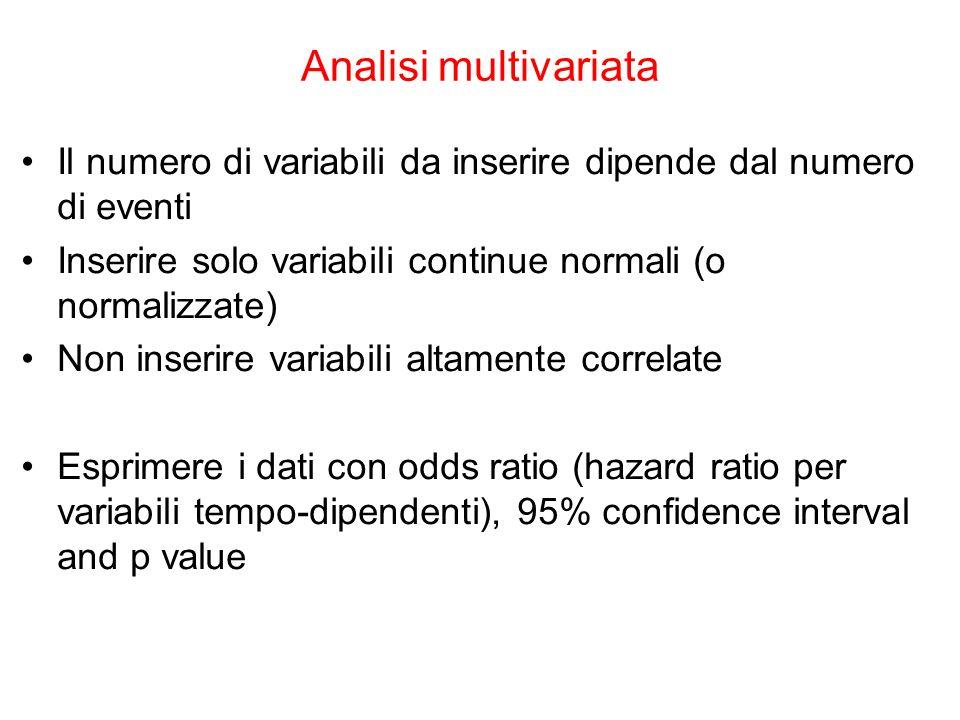 The Platinum Journal Analisi multivariata Il numero di variabili da inserire dipende dal numero di eventi Inserire solo variabili continue normali (o
