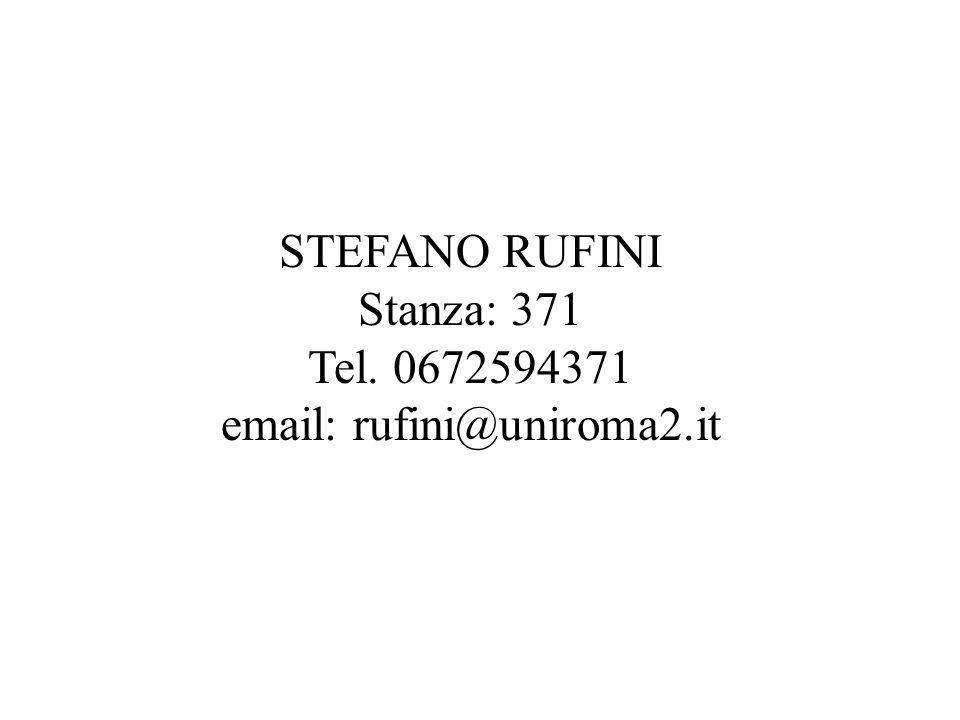 STEFANO RUFINI Stanza: 371 Tel. 0672594371 email: rufini@uniroma2.it