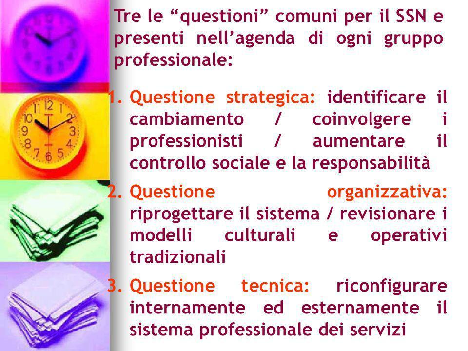 Tre le questioni comuni per il SSN e presenti nellagenda di ogni gruppo professionale: 1.Questione strategica: identificare il cambiamento / coinvolge