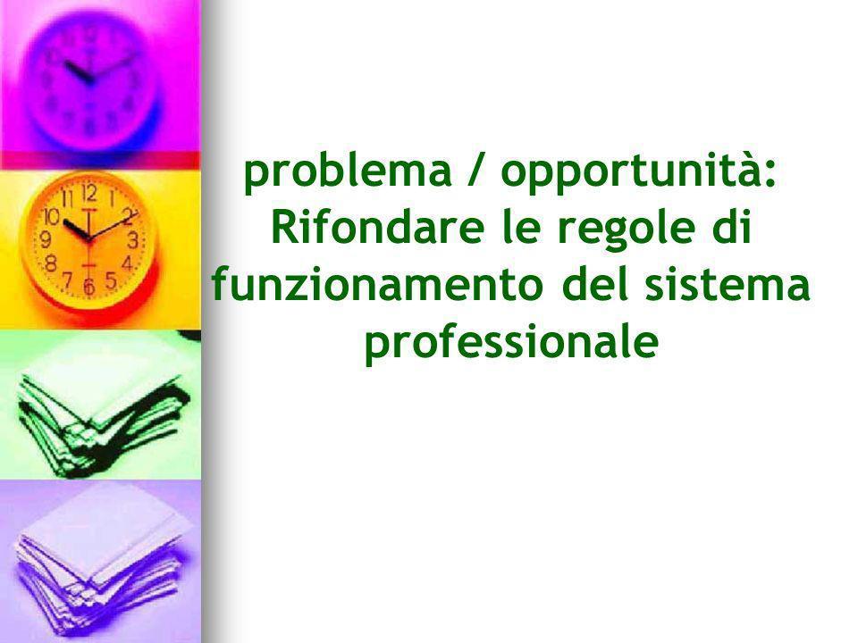 problema / opportunità: Rifondare le regole di funzionamento del sistema professionale