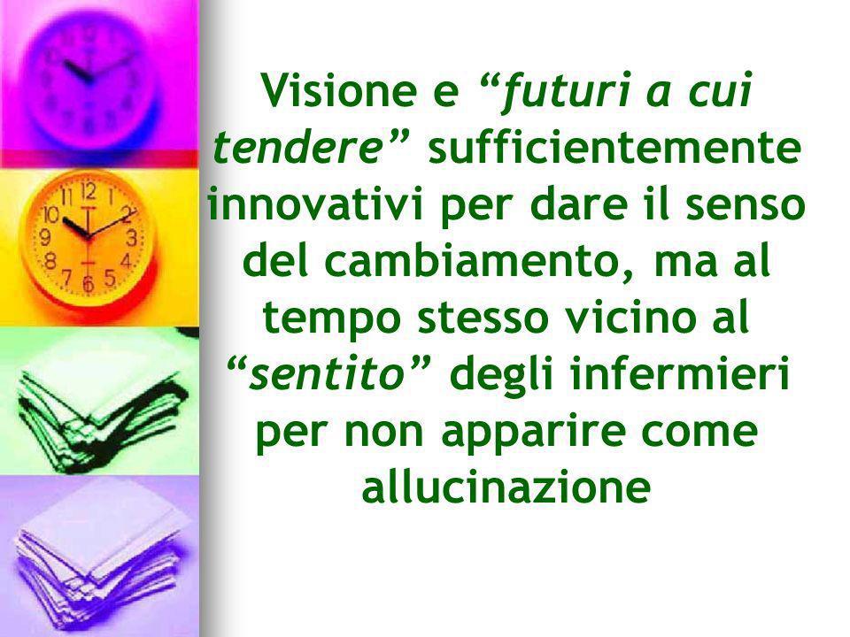 Visione e futuri a cui tendere sufficientemente innovativi per dare il senso del cambiamento, ma al tempo stesso vicino al sentito degli infermieri pe