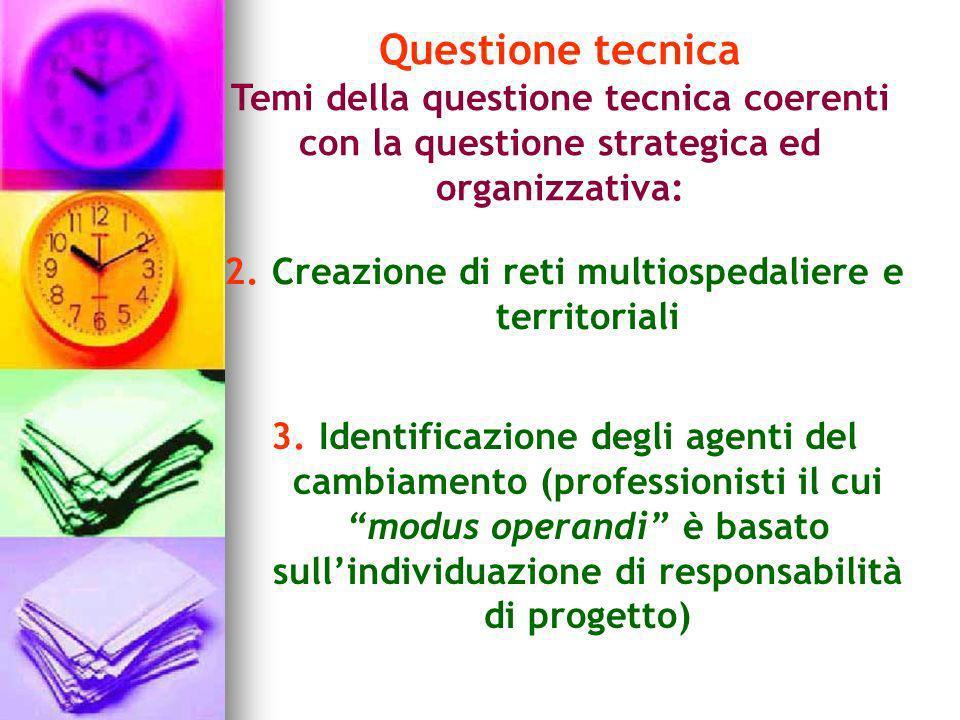 Questione tecnica Temi della questione tecnica coerenti con la questione strategica ed organizzativa: 2.Creazione di reti multiospedaliere e territori