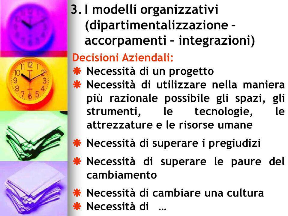 3.I modelli organizzativi (dipartimentalizzazione – accorpamenti – integrazioni) Decisioni Aziendali: Necessità di un progetto Necessità di utilizzare