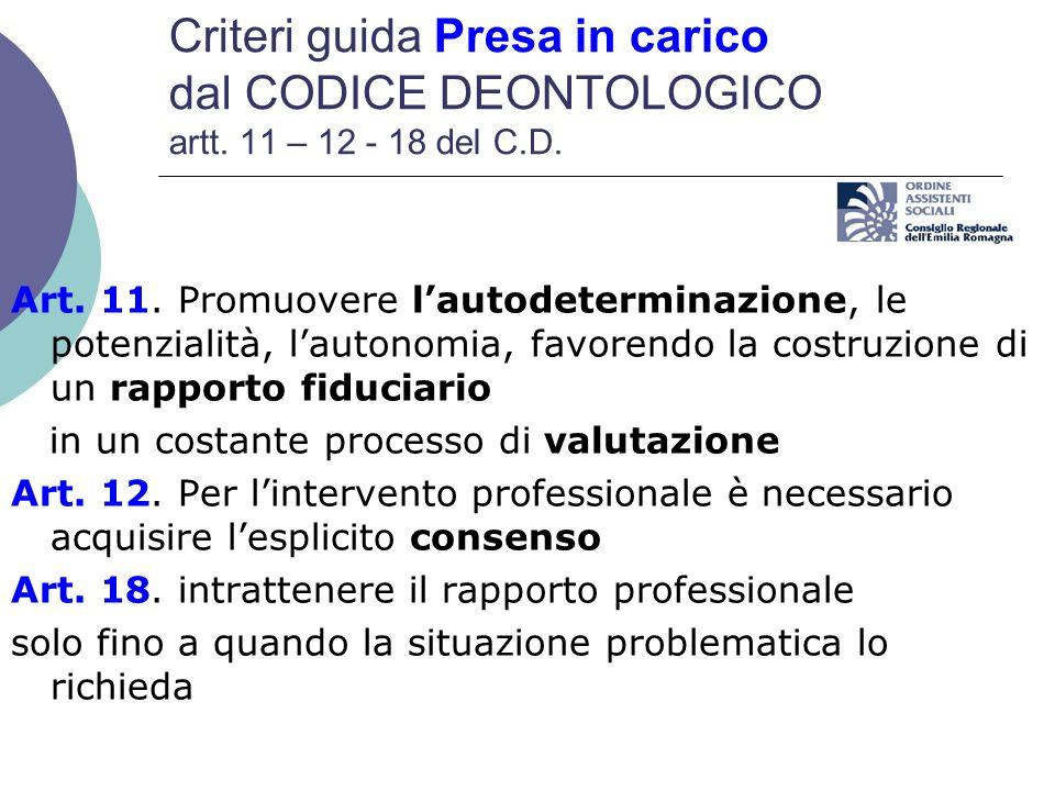 Criteri guida Presa in carico dal CODICE DEONTOLOGICO artt. 11 – 12 - 18 del C.D. Art. 11. Promuovere lautodeterminazione, le potenzialità, lautonomia
