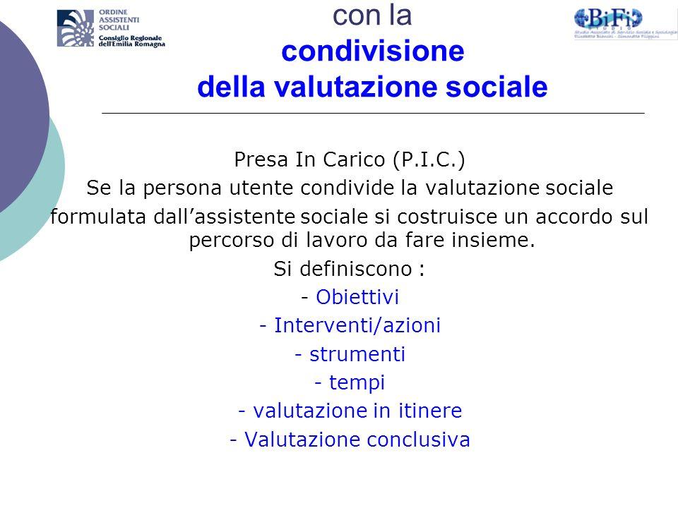 Il percorso di presa in carico si avvia con la condivisione della valutazione sociale Presa In Carico (P.I.C.) Se la persona utente condivide la valut