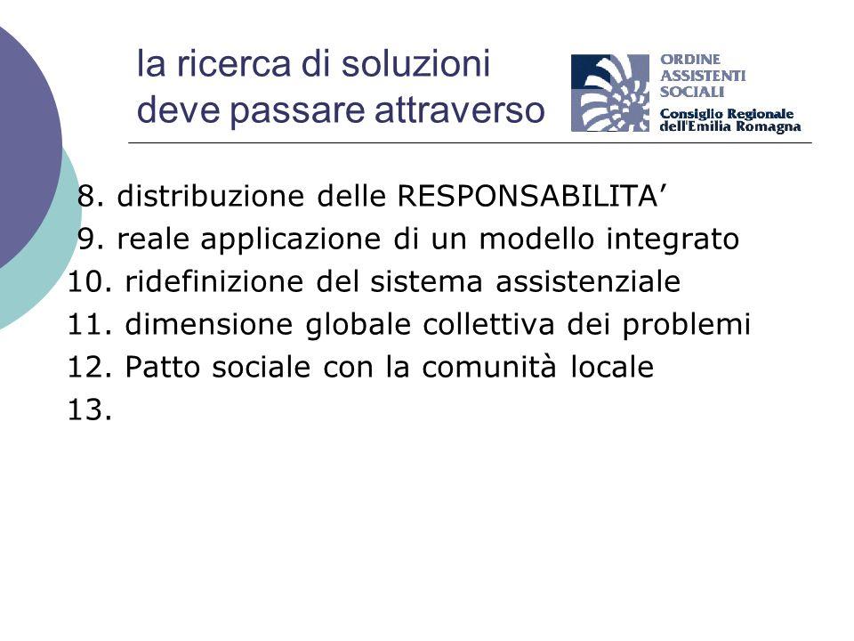 la ricerca di soluzioni deve passare attraverso 8. distribuzione delle RESPONSABILITA 9. reale applicazione di un modello integrato 10. ridefinizione