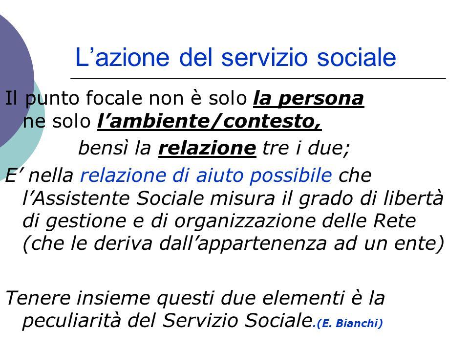 Lazione del servizio sociale Il punto focale non è solo la persona ne solo lambiente/contesto, bensì la relazione tre i due; E nella relazione di aiut