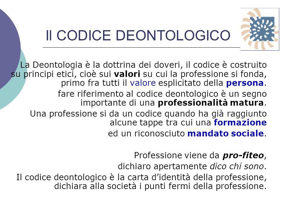 Il CODICE DEONTOLOGICO La Deontologia è la dottrina dei doveri, il codice è costruito su principi etici, cioè sui valori su cui la professione si fond