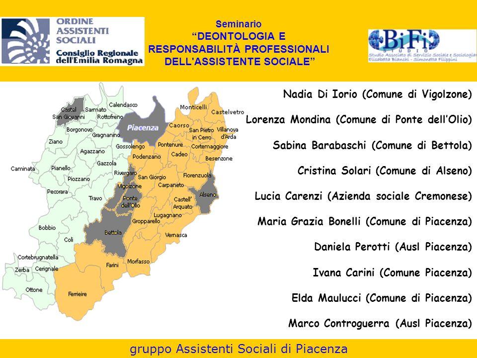 Seminario DEONTOLOGIA E RESPONSABILITÀ PROFESSIONALI DELL'ASSISTENTE SOCIALE Nadia Di Iorio (Comune di Vigolzone) Lorenza Mondina (Comune di Ponte del