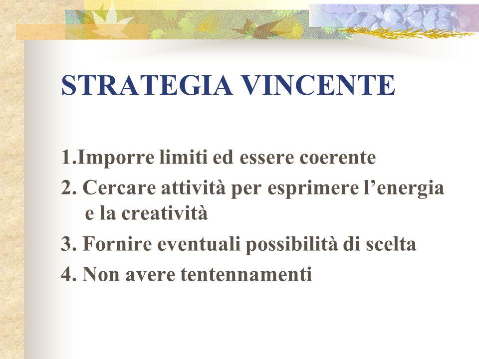 STRATEGIA VINCENTE 1.Imporre limiti ed essere coerente 2. Cercare attività per esprimere lenergia e la creatività 3. Fornire eventuali possibilità di