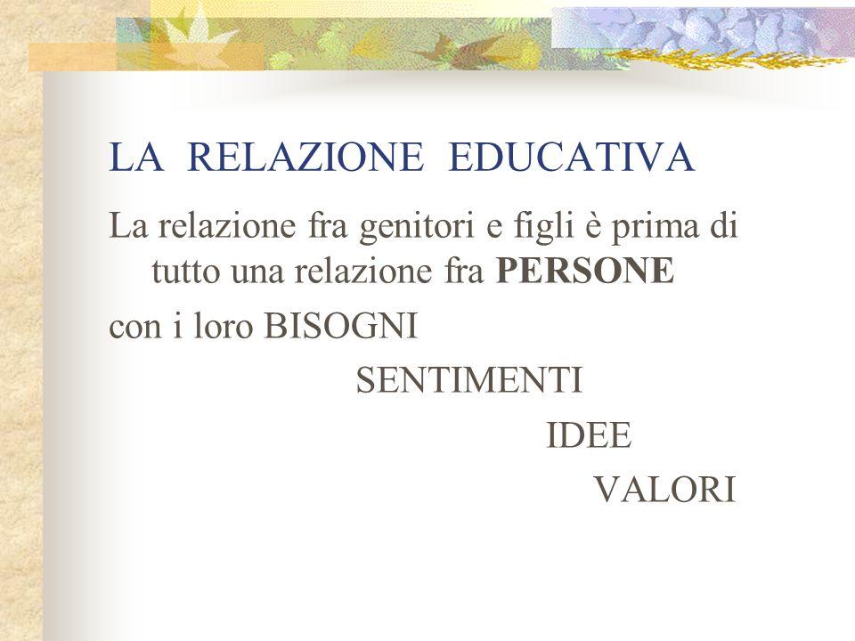 LA RELAZIONE EDUCATIVA La relazione fra genitori e figli è prima di tutto una relazione fra PERSONE con i loro BISOGNI SENTIMENTI IDEE VALORI