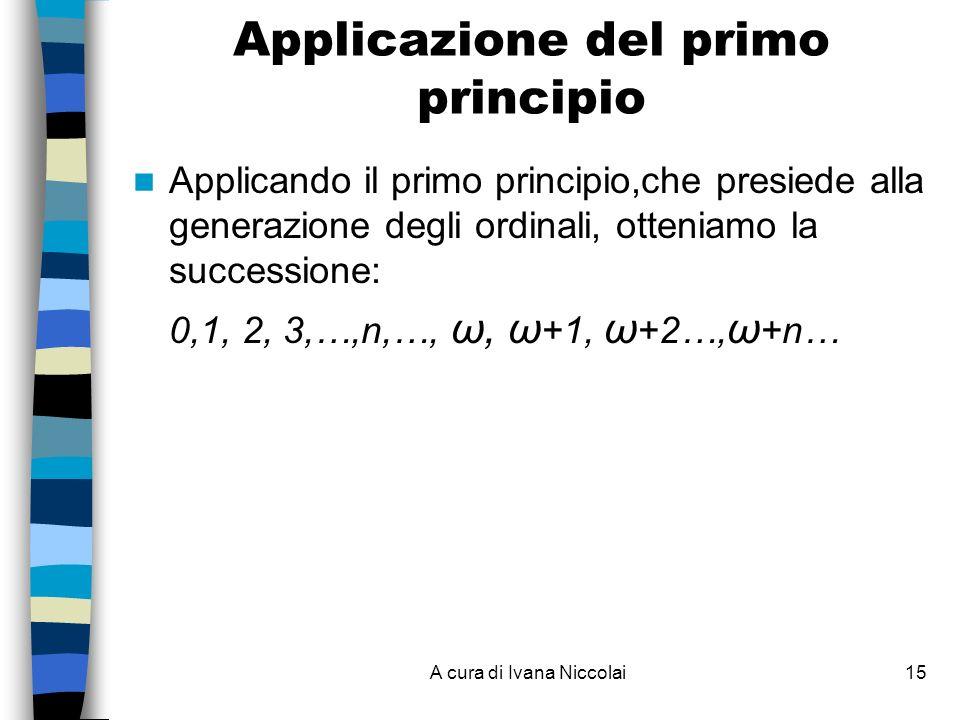 A cura di Ivana Niccolai15 Applicazione del primo principio Applicando il primo principio,che presiede alla generazione degli ordinali, otteniamo la successione: 0,1, 2, 3,…,n,…, ω, ω +1, ω +2…, ω +n…