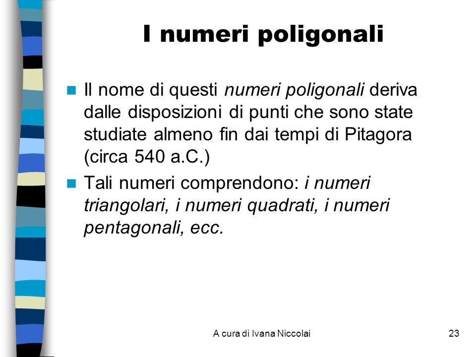 A cura di Ivana Niccolai23 I numeri poligonali Il nome di questi numeri poligonali deriva dalle disposizioni di punti che sono state studiate almeno fin dai tempi di Pitagora (circa 540 a.C.) Tali numeri comprendono: i numeri triangolari, i numeri quadrati, i numeri pentagonali, ecc.