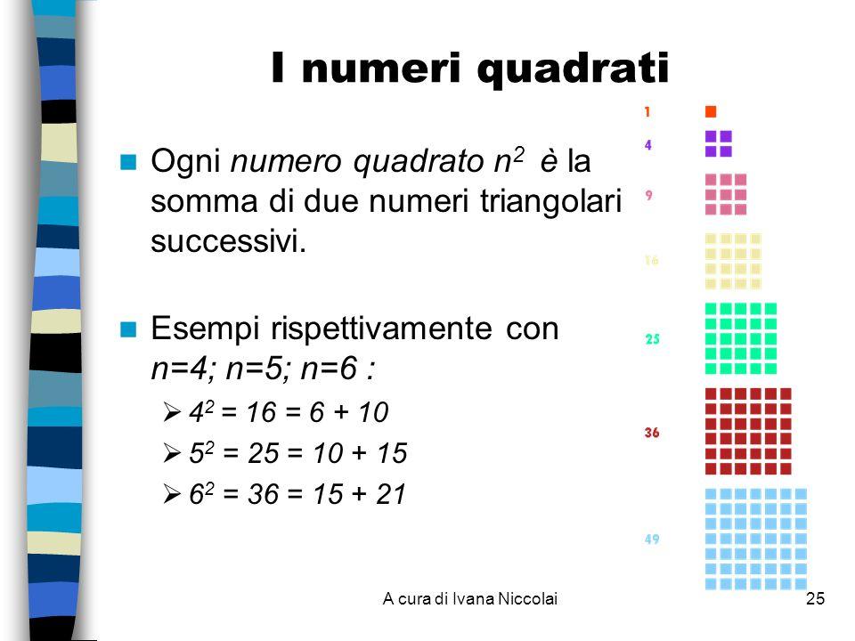 A cura di Ivana Niccolai25 I numeri quadrati Ogni numero quadrato n 2 è la somma di due numeri triangolari successivi. Esempi rispettivamente con n=4;