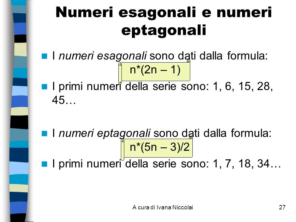 A cura di Ivana Niccolai27 Numeri esagonali e numeri eptagonali I numeri esagonali sono dati dalla formula: n*(2n – 1) I primi numeri della serie sono: 1, 6, 15, 28, 45… I numeri eptagonali sono dati dalla formula: n*(5n – 3)/2 I primi numeri della serie sono: 1, 7, 18, 34…