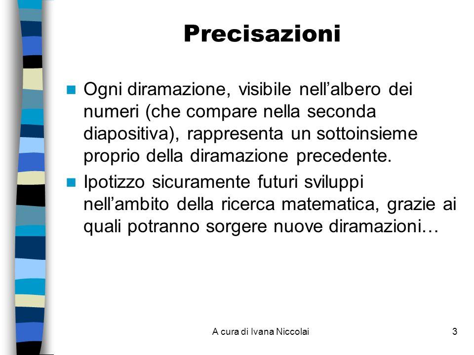 A cura di Ivana Niccolai3 Precisazioni Ogni diramazione, visibile nellalbero dei numeri (che compare nella seconda diapositiva), rappresenta un sottoinsieme proprio della diramazione precedente.