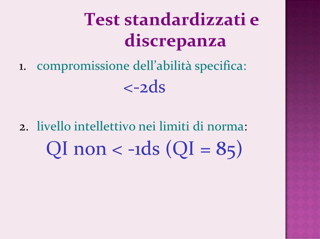 Test standardizzati e discrepanza 1.compromissione dellabilità specifica: <-2ds 2.livello intellettivo nei limiti di norma: QI non < -1ds (QI = 85)