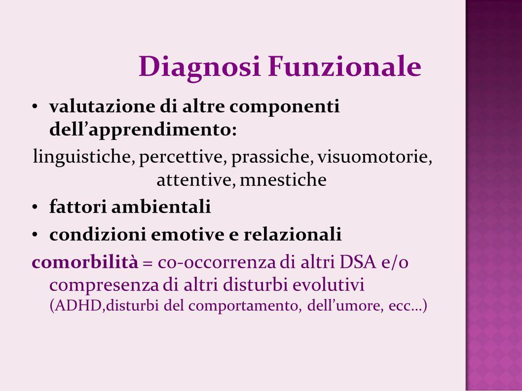 Diagnosi Funzionale valutazione di altre componenti dellapprendimento: linguistiche, percettive, prassiche, visuomotorie, attentive, mnestiche fattori