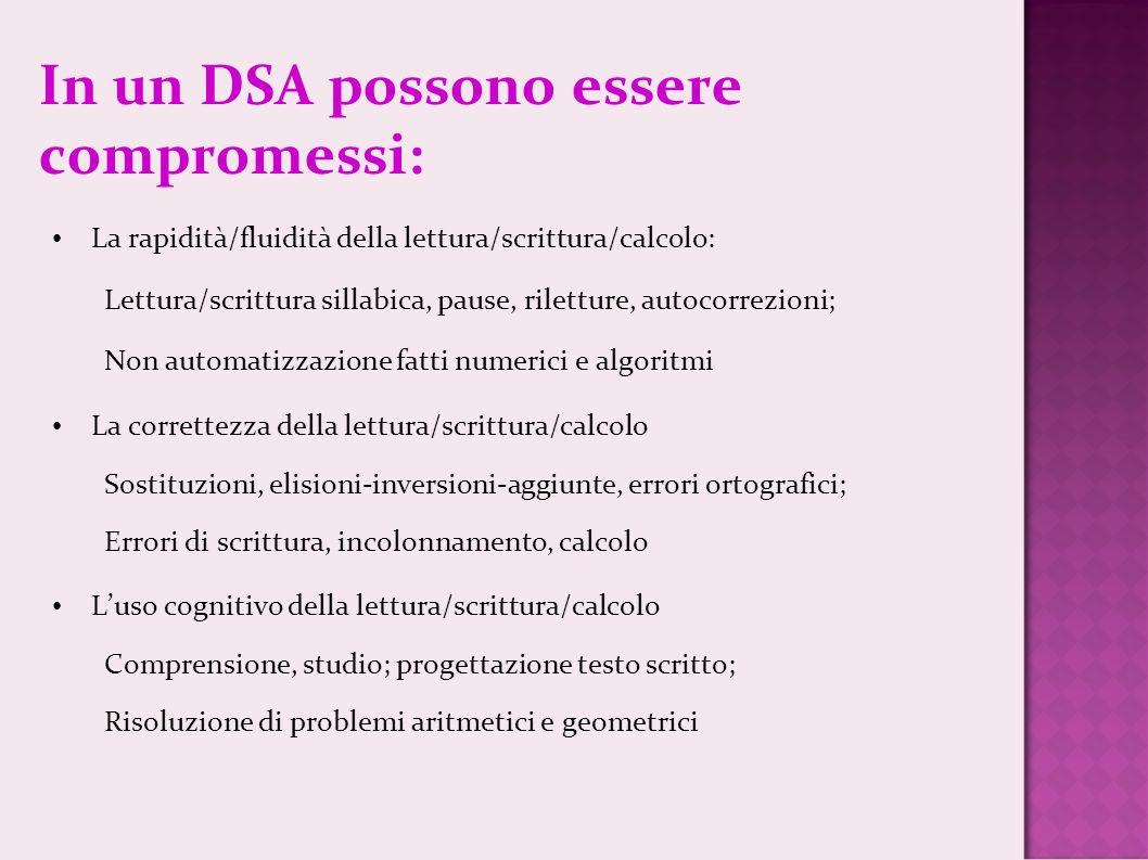 In un DSA possono essere compromessi: La rapidità/fluidità della lettura/scrittura/calcolo: Lettura/scrittura sillabica, pause, riletture, autocorrezi