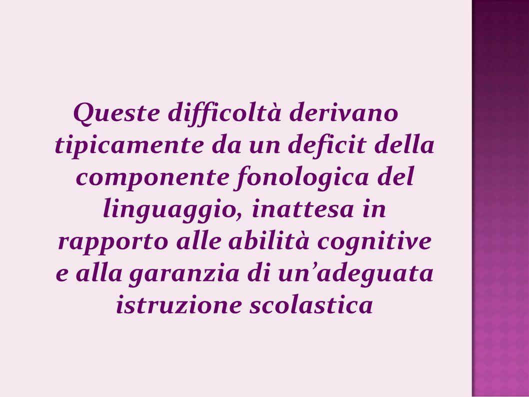 Queste difficoltà derivano tipicamente da un deficit della componente fonologica del linguaggio, inattesa in rapporto alle abilità cognitive e alla ga