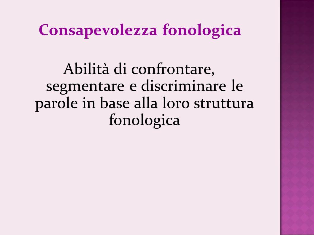Consapevolezza fonologica Abilità di confrontare, segmentare e discriminare le parole in base alla loro struttura fonologica