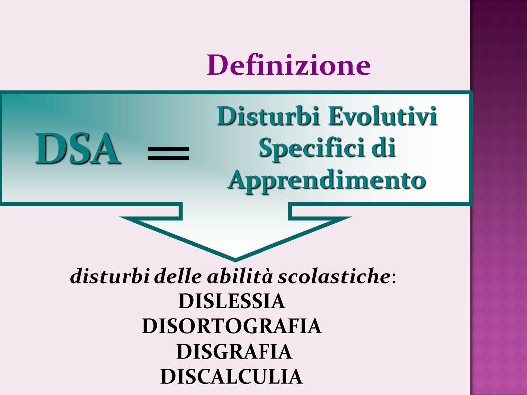 Definizione DSA Disturbi Evolutivi Specifici di Apprendimento disturbi delle abilità scolastiche:DISLESSIADISORTOGRAFIA DISGRAFIA DISGRAFIADISCALCULIA