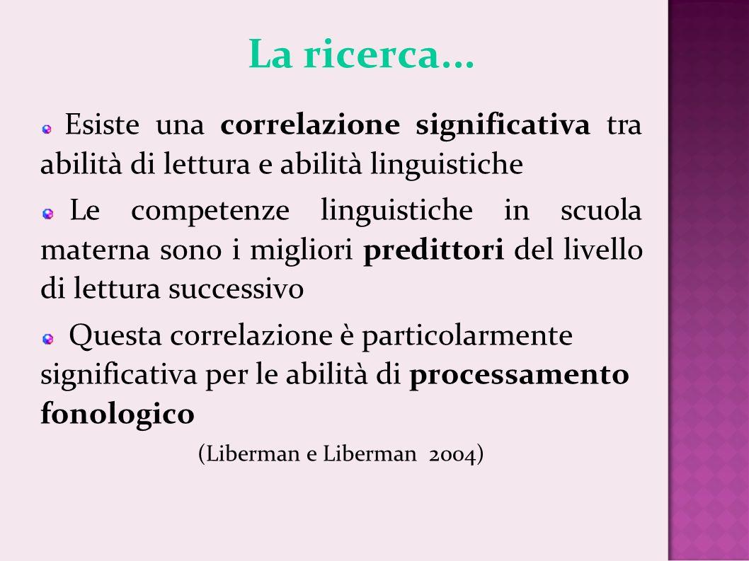La ricerca... Esiste una correlazione significativa tra abilità di lettura e abilità linguistiche Le competenze linguistiche in scuola materna sono i