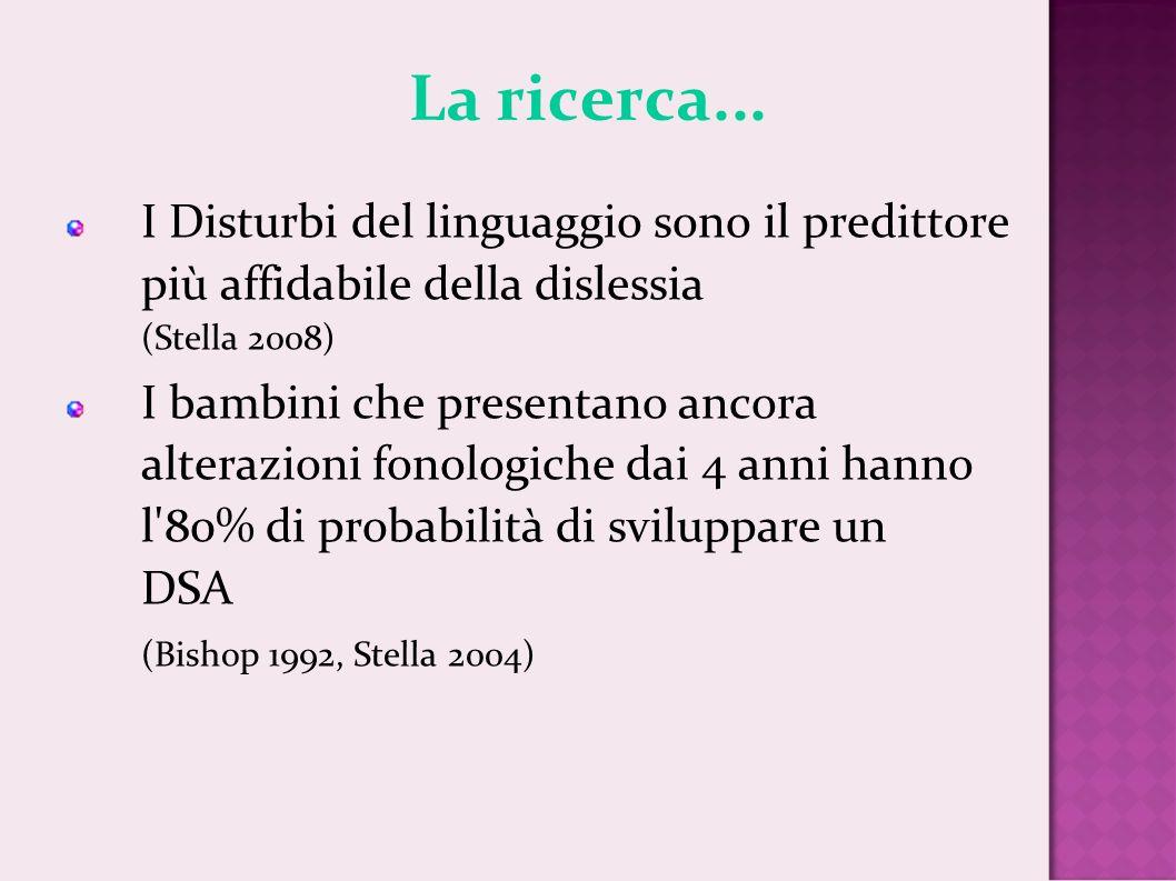 La ricerca... I Disturbi del linguaggio sono il predittore più affidabile della dislessia (Stella 2008) I bambini che presentano ancora alterazioni fo