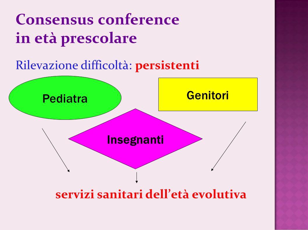 Consensus conference in età prescolare Rilevazione difficoltà: persistenti servizi sanitari delletà evolutiva Pediatra Genitori Insegnanti