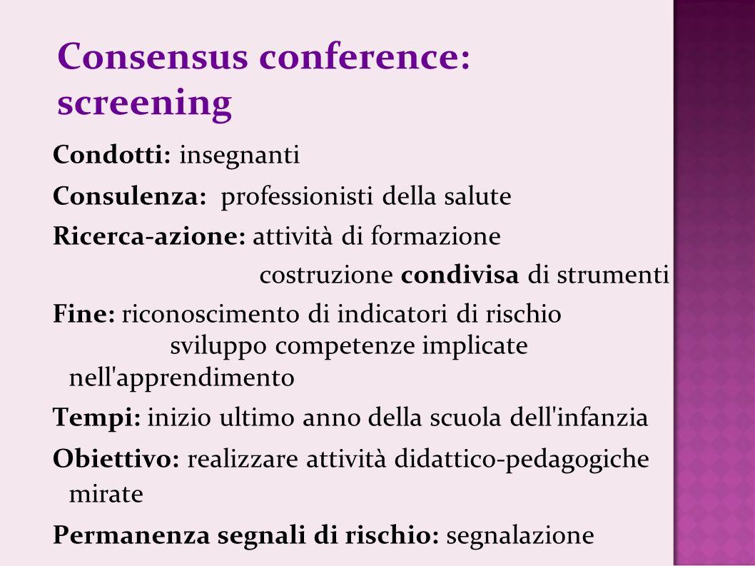 Consensus conference: screening Condotti: insegnanti Consulenza: professionisti della salute Ricerca-azione: attività di formazione costruzione condiv