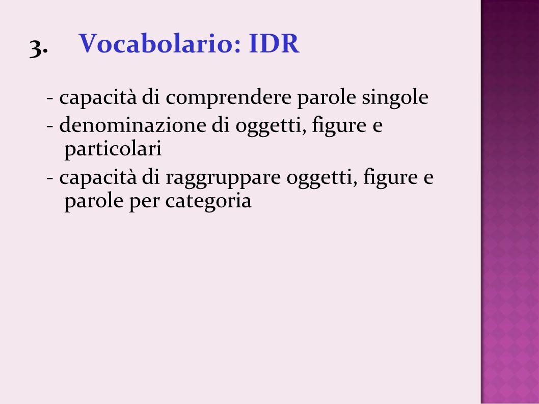 3. Vocabolario: IDR - capacità di comprendere parole singole - denominazione di oggetti, figure e particolari - capacità di raggruppare oggetti, figur