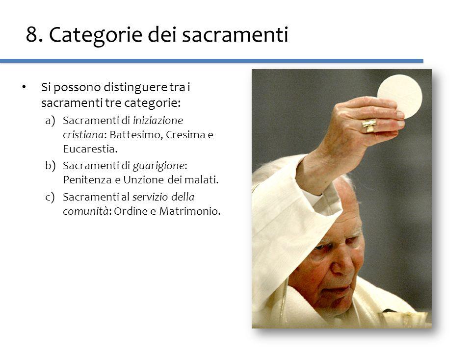 8. Categorie dei sacramenti Si possono distinguere tra i sacramenti tre categorie: a)Sacramenti di iniziazione cristiana: Battesimo, Cresima e Eucares