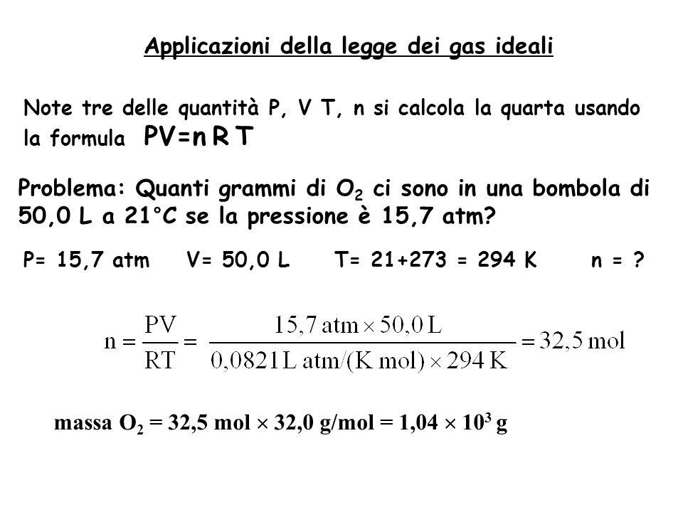 Applicazioni della legge dei gas ideali Note tre delle quantità P, V T, n si calcola la quarta usando la formula PV=n R T Problema: Quanti grammi di O