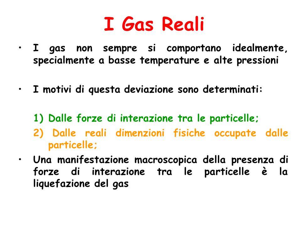 I Gas Reali I gas non sempre si comportano idealmente, specialmente a basse temperature e alte pressioni I motivi di questa deviazione sono determinat
