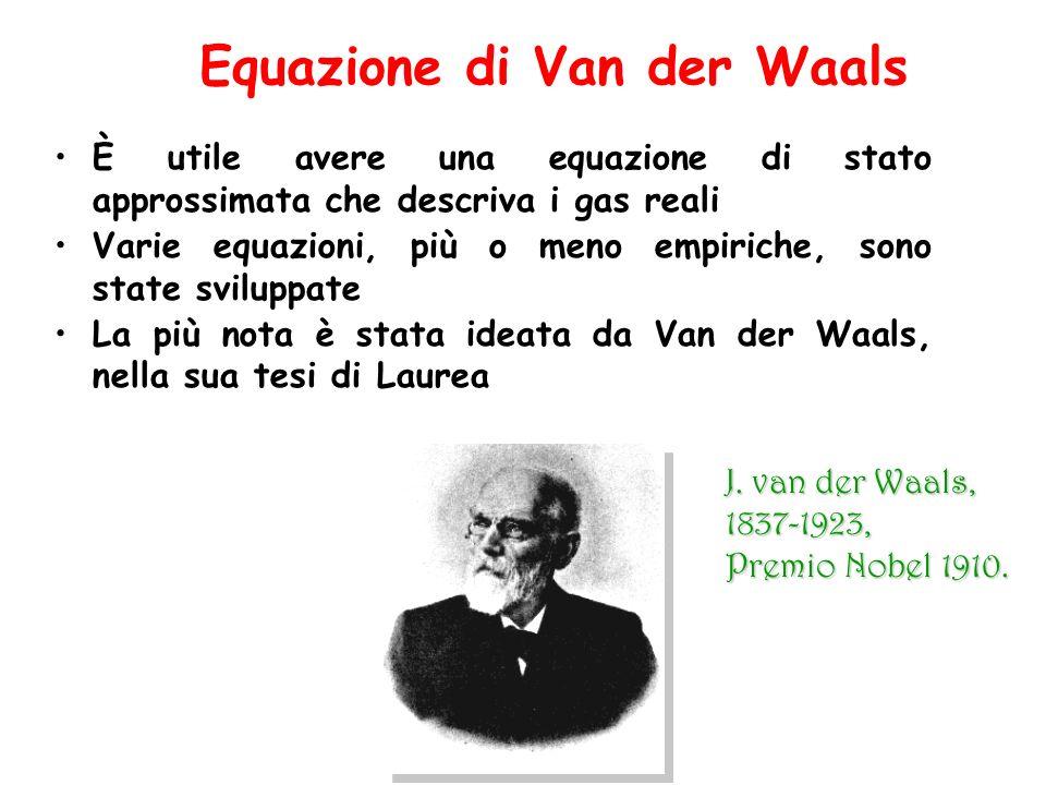 Equazione di Van der Waals È utile avere una equazione di stato approssimata che descriva i gas reali Varie equazioni, più o meno empiriche, sono stat