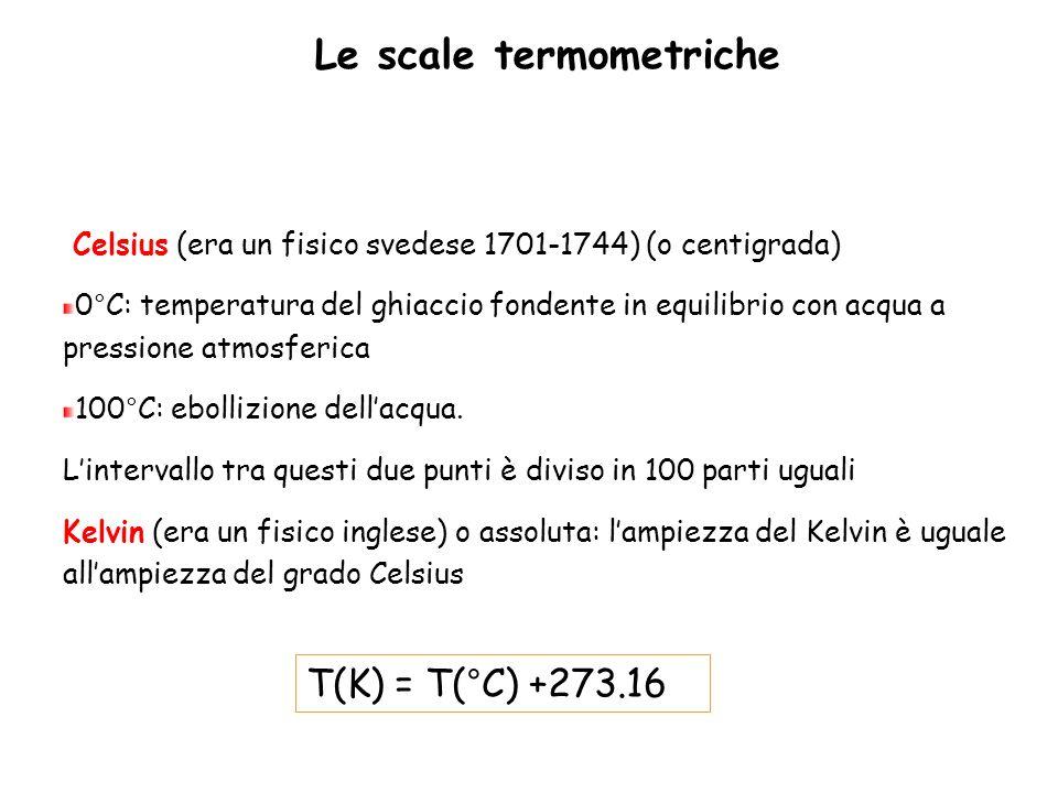 Le scale termometriche Celsius (era un fisico svedese 1701-1744) (o centigrada) 0°C: temperatura del ghiaccio fondente in equilibrio con acqua a press