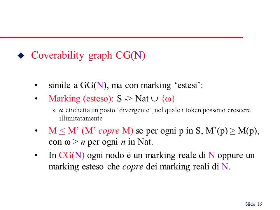 Slide 16 u Coverability graph CG(N) simile a GG(N), ma con marking estesi: Marking (esteso): S -> Nat { } » etichetta un posto divergente, nel quale i